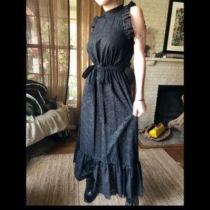 Robert Rodriguez black sleevles eyelet maxi dress